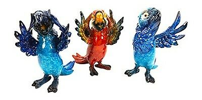 """Parrots See Hear and Speak No Evil - Set of 3 Figurines - 4"""" Tall"""