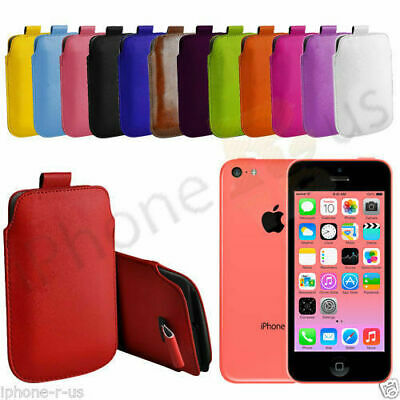 Large Premium PU Leather Pull Tab Case Cover Pouch For Apple iPhone 5C