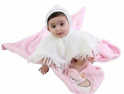 Baby Girls Boys Knitted White Hooded Poncho Tassels Nb 0-6 Months Angel Kids New