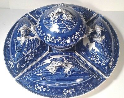 Copeland Spode's Tower Blue Canterbury Supper Serving Set~Complete