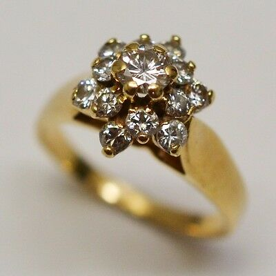 14k Yellow Gold Cluster Diamond 0.75 tcw Ring Size 5.25