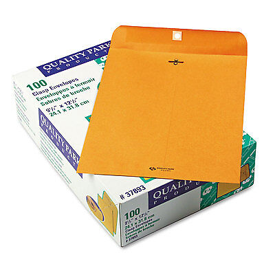 Quality Park Clasp Envelope 9 1/2 x 12 1/2 28lb Brown Kraft 100/Box 37893