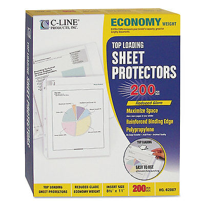 "C-Line Economy Weight Poly Sheet Protector Reduced Glare 2"" 11 x 8 1/2 200/BX"