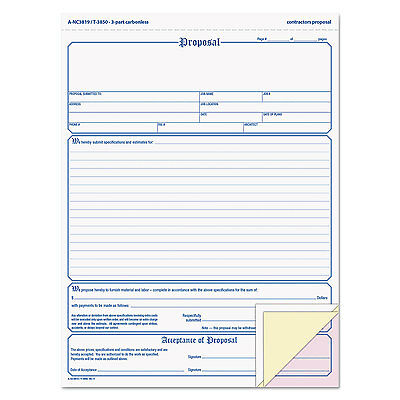 TOPS Proposal Form 8-1/2 x 11 Three-Part Carbonless 50 Forms 3850