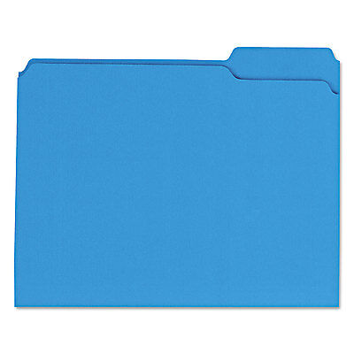 UNIVERSAL Colored File Folders 1/3 Cut Assorted Two-Ply Top Tab Letter Blue 100
