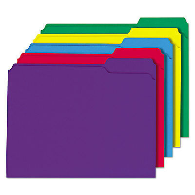 Universal One File Folders 1/3 Cut Double-Ply Top Tab Letter Assorted Colors 100
