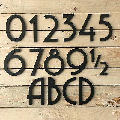 """Art Deco House Numbers, 6"""" tall, black or white"""