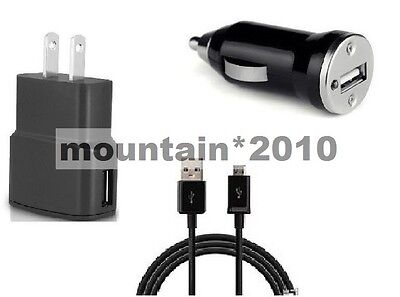 2 Amp Wall+1A Car Adapter+5 Feet Usb For Cricket Wireless Samsung Galaxy S7