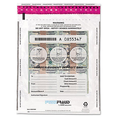 MMF Industries FREEZFraud Tamper-Evident Deposit Bags 12 x 16 Clear 100/Box