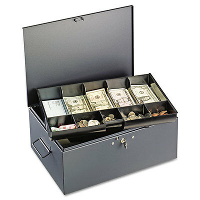 SteelMaster Extra Large Cash Box with Handles Key Lock Gray 221F15TGRA