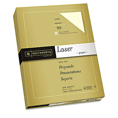 Southworth 25% Cotton Premium Laser Paper Ivory  32 lbs Smooth 8-1/2 x 11 300