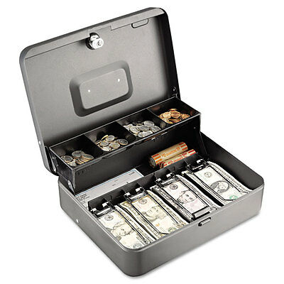 SteelMaster Tiered Cash Box w/Bill Weights Cam Key Lock Charcoal 2216194G2