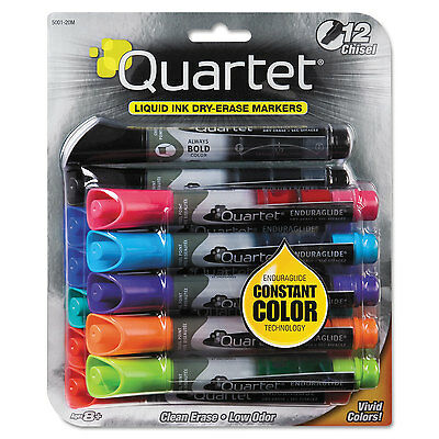 Quartet EnduraGlide Dry Erase Marker Chisel Tip Assorted Colors 12/Set 500120M