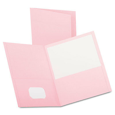 Oxford Twin-Pocket Folder Embossed Leather Grain Paper Pink 25/Box 57568