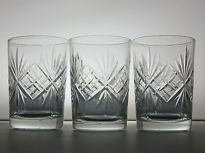 Lovely Cut Glass Lead Crystal Tumblers Set Of 3