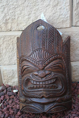 new zealand carved  wood  face