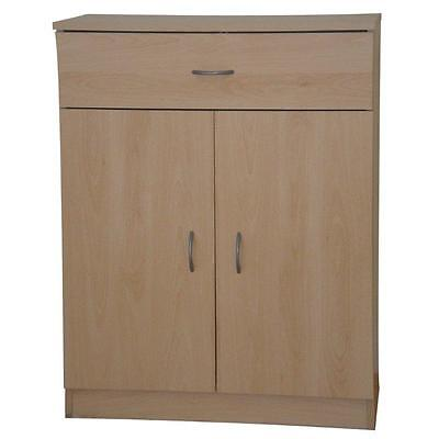 Cupboard Storage Unit Beech 2 Door 1 Drawer Office Cabinet or Sideboard Selby
