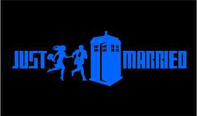 Dr Who Tardis Just Married Wedding Decal for Get-a-way Car Auto