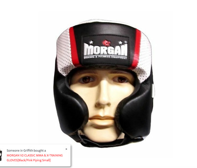 MORGAN MEXICAN LEATHER HEAD GUARD chin cheek BOXING FIGHT ANBF APPROVED NEWNSW