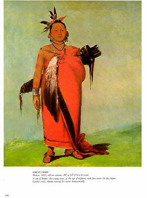 1981-George Catlin: Chief Ponca, 1832- Native American- Vtg Bookplate Art Print