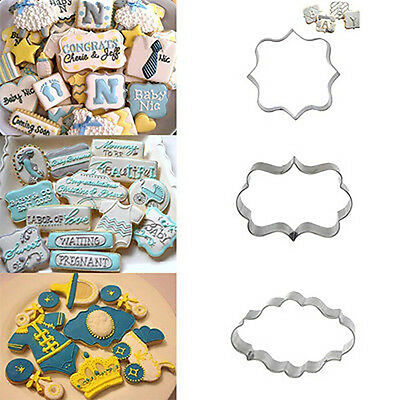 3PCS Stainless Steel Frame Biscuit Cookie Cutter Fondant Cake Mold Mould Set New