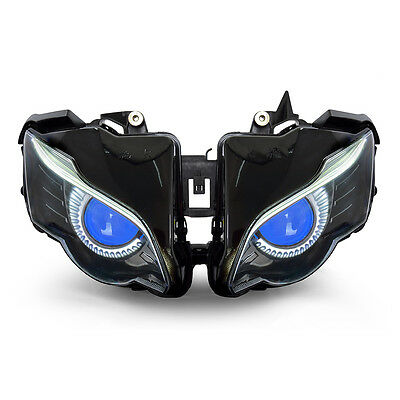 KT LED Halo Eagle Eyes HID Headlight Assembly for Honda CBR1000RR 2008-2011 Blue