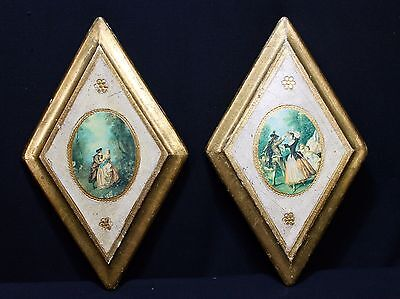Pair Of Vintage Italian Florentine Tole Wood Wall Plaques