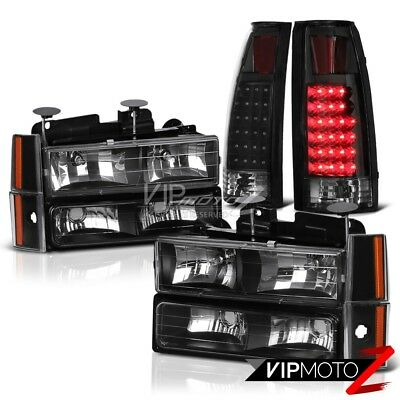 1988-1993 Chevy Silverado C10 CK 1500 2500 Bumper Headlight Black LED Taillight