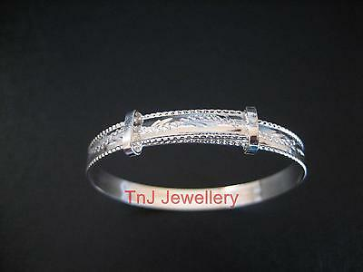 Solid 925 Sterling Silver Rope Edge Engraved Expanding Baby Bangle