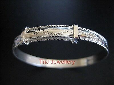 Solid 925 Sterling Silver Rope Edge Engraved Expanding Baby Or Child's Bracelet