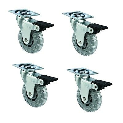 "4 pack 4"" Swivel Grey Caster Wheels Rubber Base w/ Top Plate And Lock Brakes"