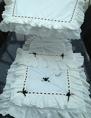 Pram Canopy to fit Silver Cross pram in cream/and black+quilt set