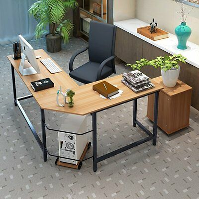 New L-Shaped Corner Computer Desk PC Laptop Study Table Workstation Home Office