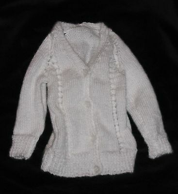 HAND KNITTED WHITE BABY JACKET 0-3 months