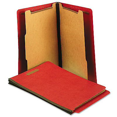 Universal One Pressboard End Tab Folders Letter Six-Section Bright Red 10/Box