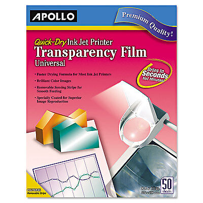 Apollo Color Inkjet QuickDry Transparency Film w/Removable Stripe Letter Clear