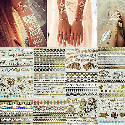 Temporary Flash Tattoos Metallic Inspired Body Gold & Silver Art Makeup Stickers