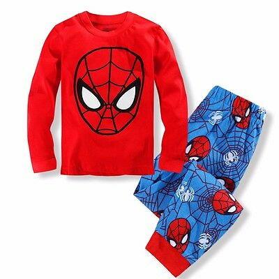Spiderman Kids Toddler Baby Boys Pyjamas Pajamas Set Pjs Nightwear Age 2-3-4-5-8