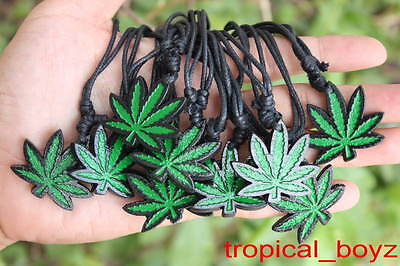 10 Green Marijuana Cannabis Pot Weed Resin Cotton Necklaces Wholesale Lot