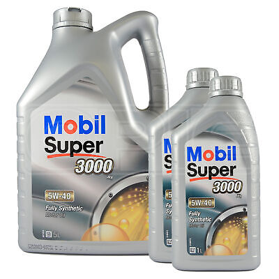 Mobil Super 3000 X1 5W-40 Fully Synthetic Engine Motor Oil 5L + 2x1L : 7 Litres