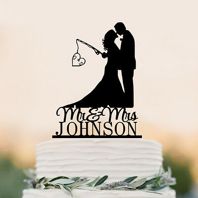 Mr & Mrs  Personalized Wedding Cake Topper Hooked  Love Fishing Couple Decor