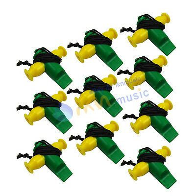 Pack of 10pcs Plastic Yellow Green Color Tri-Tone Samba Whistle