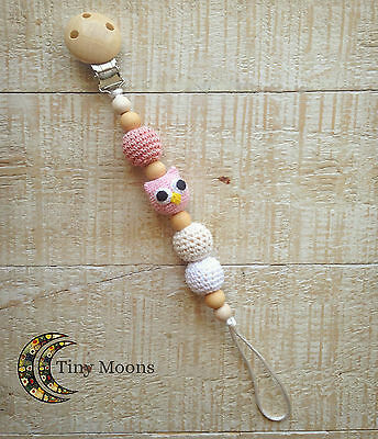 Natural Wood & Cotton Dummy Clip Chain Pacifier Clips Hand Made Baby