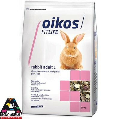 ALIMENTO COMPLETO PER CONIGLI RABBIT ADULT 1 600gr OIKOS FITLIFE rabbit food