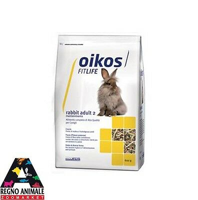 ALIMENTO COMPLETO PER CONIGLI RABBIT ADULT 2 600gr OIKOS FITLIFE rabbit food