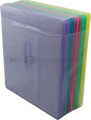 Non woven Multi Color Plastic Sleeve CD/DVD Double-sided - 100 Pack