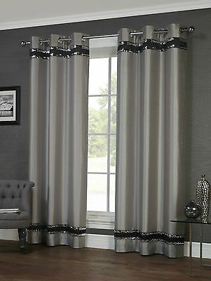 Savoy Silver Eyelet/Ring Top Lined Curtain Pairs - TO CLEAR - FREE DELIVERY