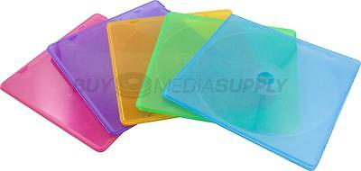 5mm Slimline Multi Color 1 Disc CD/DVD PP Poly Case - 100 Pack