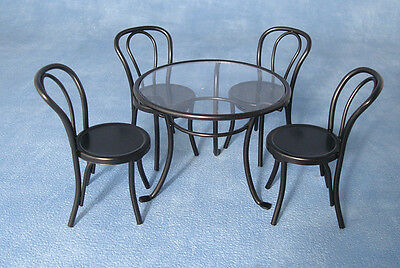 Streets Ahead 1/12th scale Dolls House Black Metal Table & Chairs DF1428