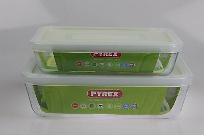 Pyrex Set of 2 Pyrex Dishes plastic lids Roaster/Storage 22cm/1.5L & 19cm/0.8L